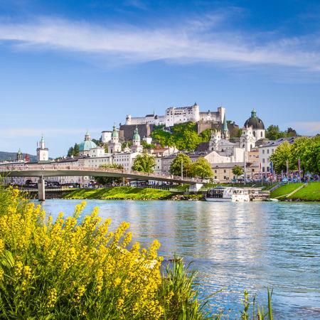 salzburg: Beautiful view of Salzburg skyline with Festung Hohensalzburg and Salzach river in summer, Salzburg, Salzburger Land, Austria