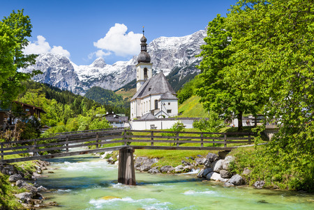 berchtesgaden: Scenic mountain landscape in the Bavarian Alps with famous Parish Church of St  Sebastian in the village of Ramsau, Nationalpark Berchtesgadener Land, Upper Bavaria, Germany Stock Photo