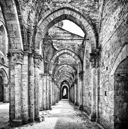 abbey: Historic ruins of abandoned abbey in black and white