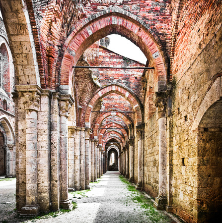 roman column: Beautiful view of historic ruins of an abandoned abbey
