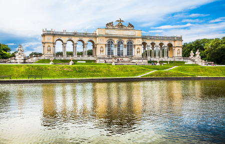 schloss schoenbrunn: Beautiful view of famous Gloriette at Schonbrunn Palace and Gardens in Vienna, Austria