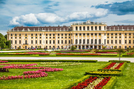 schonbrunn palace: Beautiful view of famous Schonbrunn Palace with Great Parterre garden in Vienna, Austria
