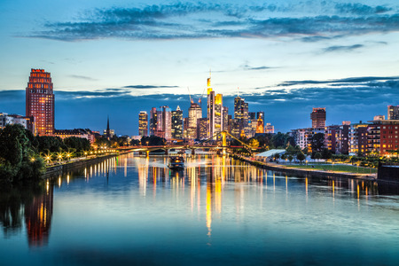 Beautiful view of Frankfurt am Main skyline at dusk, Germany photo