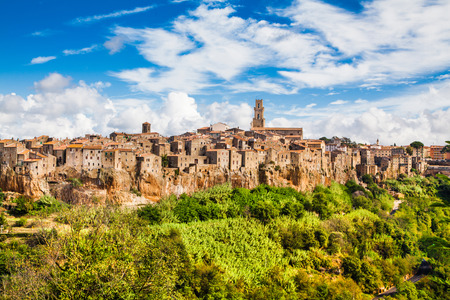 siena italy: Panoramic view of the medieval town of Pitigliano in Tuscany, Italy Stock Photo