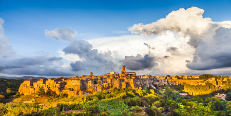 siena italy: Panoramic view of the medieval town of Pitigliano at sunset, Tuscany, Italy