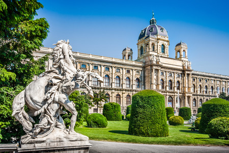 Beautiful view of famous Naturhistorisches Museum  Natural History Museum  with park and sculpture in Vienna, Austria 報道画像