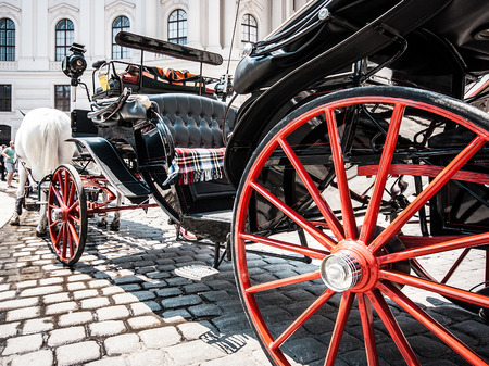 horse and carriage: Traditional horse-drawn carriage at famous Hofburg Palace in Vienna, Austria