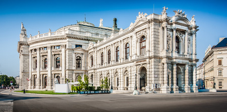 Beautiful view of historic Burgtheater  Imperial Court Theatre  with famous Wiener Ringstrasse in Vienna, Austria