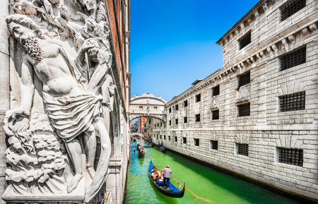 Panoramic view of famous Bridge of Sighs with Doge s Palace and traditional gondolas on Rio di Palazzo, Venice, Italy