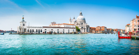 rialto bridge: Panoramic view of famous Canal Grande with Basilica di Santa Maria della Salute in the background, Venice, Italy