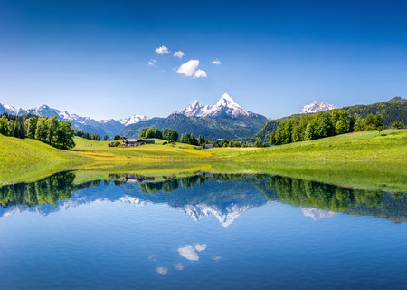 Idyllic summer landscape with clear mountain lake in the\ Alps
