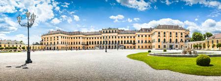 schloss schoenbrunn: Panoramic view of famous Schonbrunn Palace at main entrance in Vienna, Austria Editorial