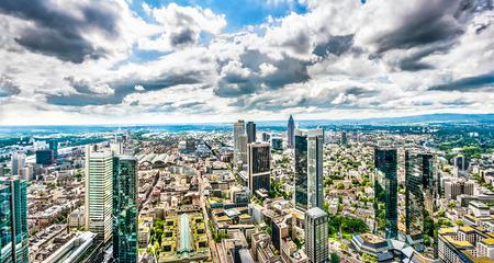 hessen: Panoramic view of Frankfurt am Main skyline with dramatic cloudscape, Hessen, Germany Stock Photo
