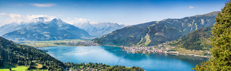 kitzsteinhorn: Panoramic view of the city of Zell am See with Zeller Lake in Salzburger Land, Austria Stock Photo