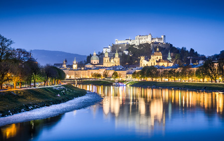 amadeus: Beautiful view of Salzburg skyline with Festung Hohensalzburg and Salzach river at blue hour, Salzburger Land, Austria