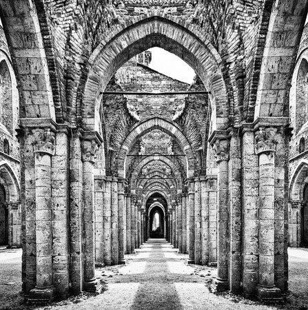 abbey ruins abbey: Historic ruins of abandoned abbey in black and white