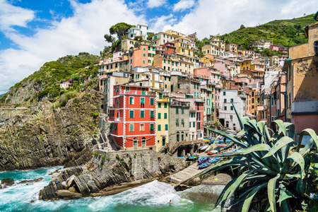 Beautiful view of Riomaggiore, one of the five famous fisherman villages of Cinque Terre in Liguria, Italy photo