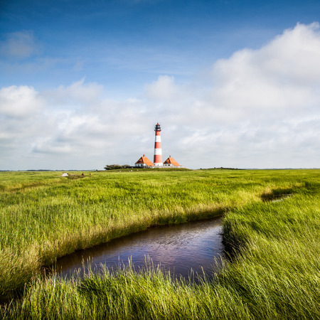 westerheversand: Beautiful landscape with small pond and lighthouse in the background at North Sea in Nordfriesland, Schleswig-Holstein, Germany