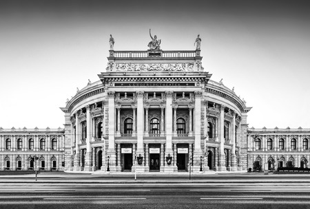 Beautiful view of historic Burgtheater with famous Wiener Ringstrasse in Vienna, Austria