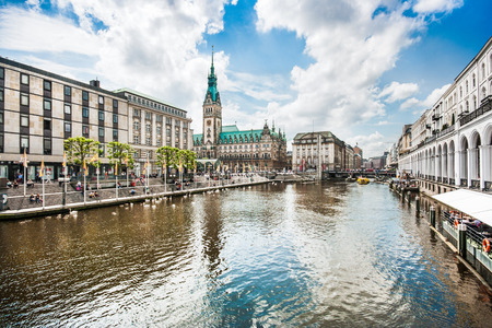 town halls: Beautiful view of Hamburg city center with town hall and Alster river, Germany Stock Photo