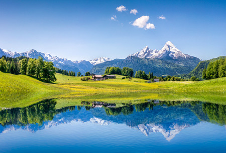 알프스의 맑은 산 호수와 목가적 인 여름 풍경 스톡 콘텐츠