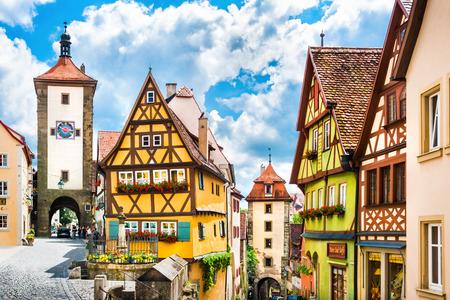 Piękny widok na zabytkowym mieście Rothenburg ob der Tauber, Frankonia, Bawaria, Niemcy Publikacyjne