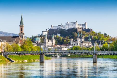 salzach: Beautiful view of Salzburg skyline with Festung Hohensalzburg and river Salzach, Salzburger Land, Austria