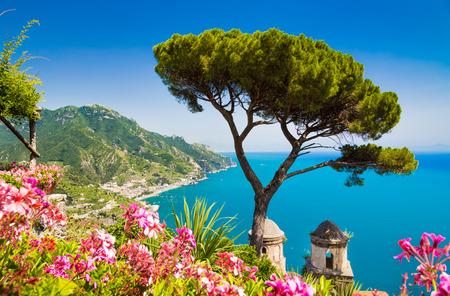 Scenic picture-postcard view of famous Amalfi Coast with Gulf of Salerno from Villa Rufolo gardens in Ravello, Campania, Italy Archivio Fotografico