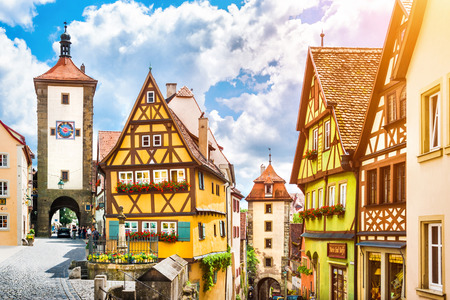 Beautiful view of the historic town of Rothenburg ob der\ Tauber, Franconia, Bavaria, Germany\