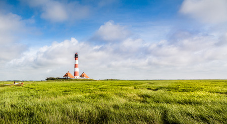 westerheversand lighthouse: Beautiful landscape with lighthouse at North Sea in Nordfriesland, Schleswig-Holstein, Germany