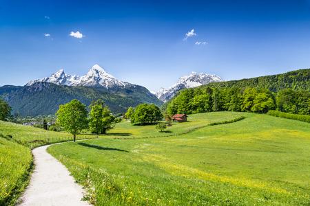 panoramic nature: Idyllic summer landscape in the Alps, Nationalpark Berchtesgadener Land, Bavaria, Germany Stock Photo