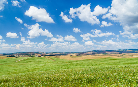 san quirico: Scenic Tuscany landscape with rolling hills and beautiful cloudscape in Val d Orcia, Italy Stock Photo