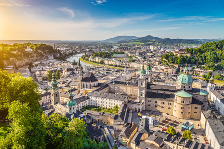 Aerial view of the historic city of Salzburg at sunset, Salzburger Land, Austria photo