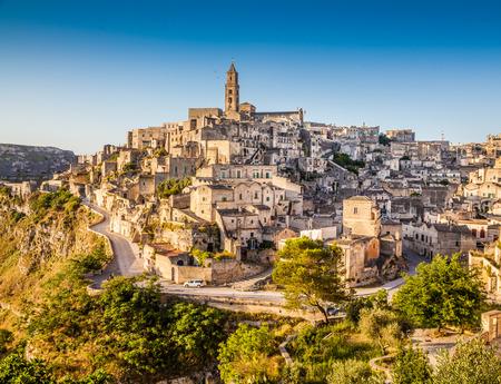 sassi: Ancient town of Matera at sunrise, Basilicata, southern Italy