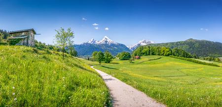 Vista panorámica del paisaje idílico del verano en los Alpes