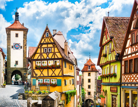 town square: Historic town of Rothenburg ob der Tauber, Franconia, Bavaria, Germany Editorial