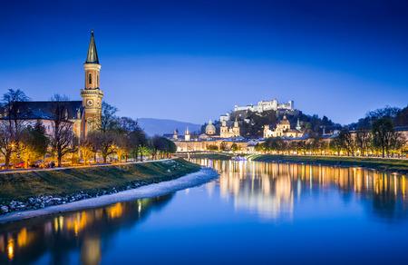 salzach: Historic town of Salzburg with Festung Hohensalzburg and Salzach river at blue hour, Salzburger Land, Austria