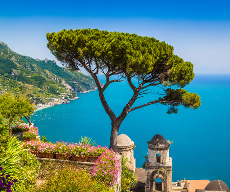 Scenic picture-postcard view of famous Amalfi Coast with Gulf of Salerno from Villa Rufolo gardens in Ravello, Campania, Italy