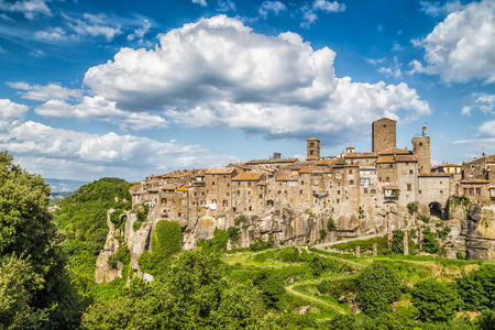 vitorchiano: Medieval town of Vitorchiano with stunning cloudscape, province of Viterbo, Lazio, Italy Stock Photo