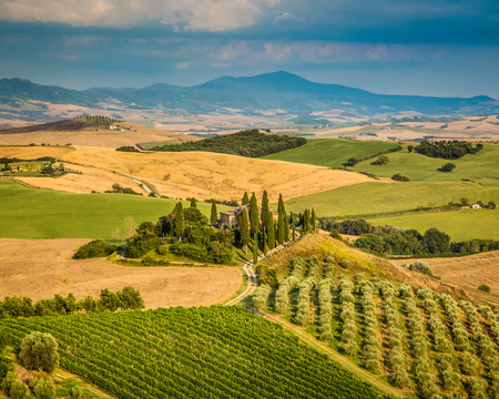 Scenic Tuscany landscape with rolling hills and valleys in golden evening light, Val d photo