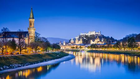 amadeus: Salzburg skyline with Festung Hohensalzburg and Salzach river at blue hour, Salzburger Land, Austria