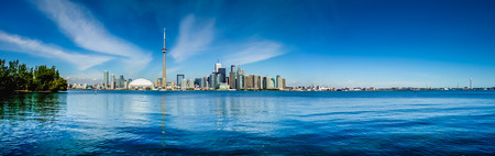 building cn tower: Toronto skyline waterfront panorama from Centre Island, Ontario, Canada Stock Photo