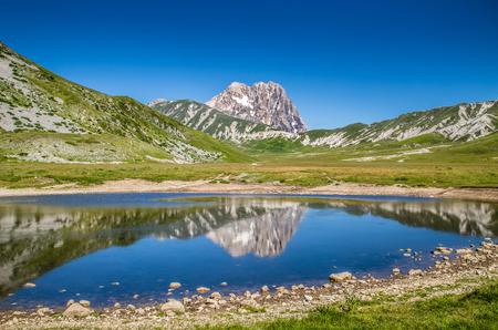 abruzzo: Beautiful landscape with Gran Sasso mountain summit, Campo Imperatore National Park, Italy