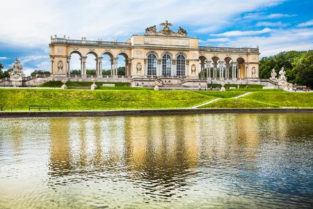 schonbrunn palace: Beautiful view of famous Gloriette at Schonbrunn Palace and Gardens in Vienna, Austria