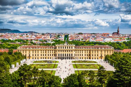 schloss: Famous Schonbrunn Palace with Great Parterre garden in Vienna, Austria Editorial