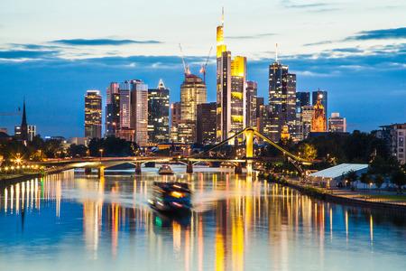 hessen: Frankfurt am Main skyline at dusk, Hessen, Germany Stock Photo