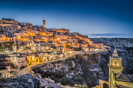 Ancient town of Matera at dusk, Basilicata, southern Italy