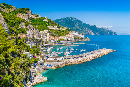 Scenic picture-postcard view of famous Amalfi Coast with beautiful Gulf of Salerno, Campania, Italy photo