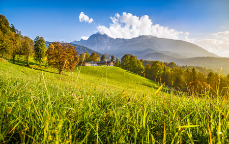 Beautiful autumn landscape in the Alps in golden evening light photo