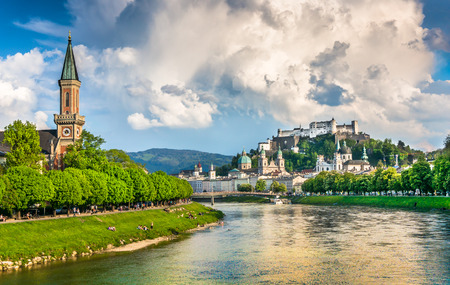 Salzburg cityscape with Festung Hohensalzburg and Salzach river in summer, Salzburg, Salzburger Land, Austria